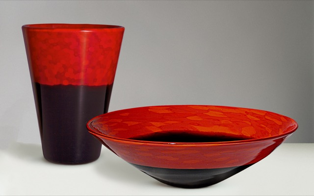 red and black lacquered glass by Carlo Scarpa