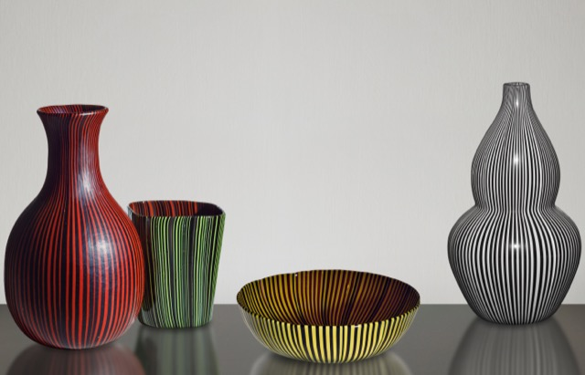 Rigati e tessuti glass vases and bowl Scarpa
