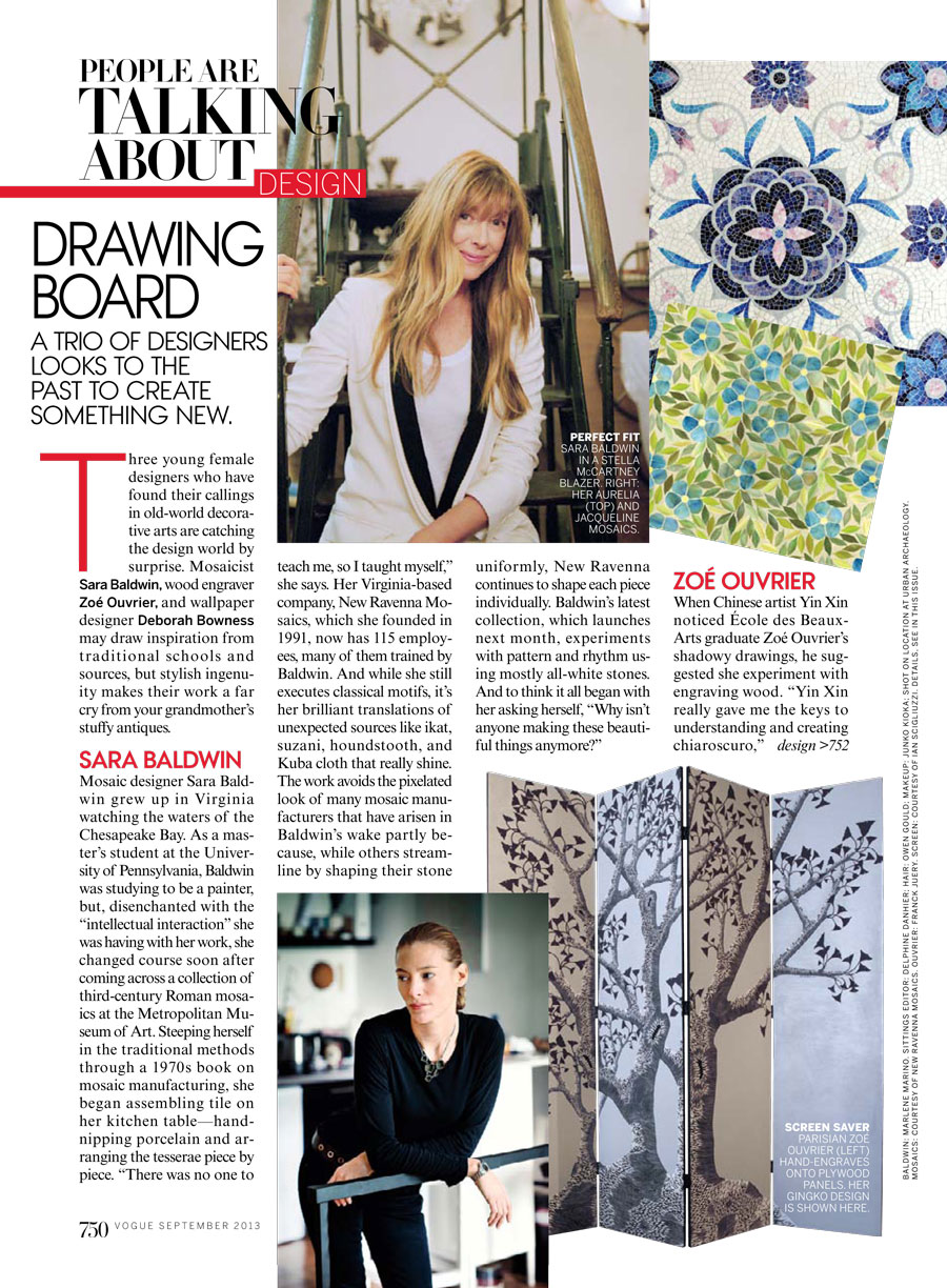 New Ravenna Mosaics Founder Sara Baldwin in Vogue September 2013